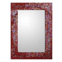 Handmade Mosaic Glass India Sunset Myriad Glass Tiles Border Mirror (India)