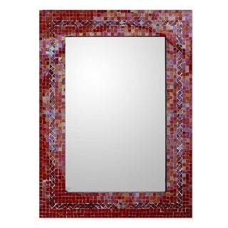 Handmade Mosaic Glass India Sunset Myriad Glass Tiles Border Mirror (India) - Red - N/A