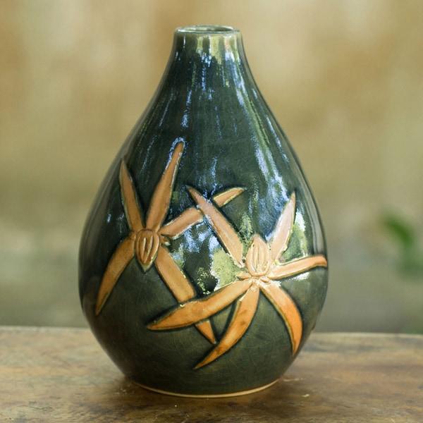 Handmade Celadon Ceramic 'Dragonfly Orchids' Vase (Thailand)