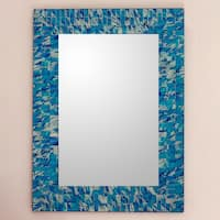 Silver Beach Shades of Turquoise White and Blue Glass Tile Mosaic Contemporary Accent Vertical or Horizontal Wall Mirror (India)