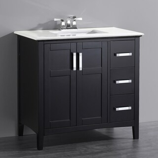 WYNDENHALL Salem Black 2-door 36-inch Bath Vanity Set with White Quartz Marble Top