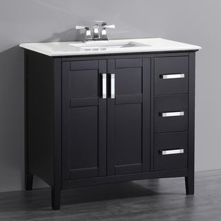 WYNDENHALL Salem Black 2 Door 36 Inch Bath Vanity Set With White Quartz  Marble