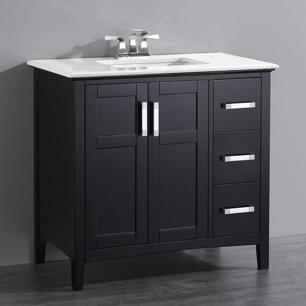 Black Bathroom Vanity Set: Shop WYNDENHALL Salem Black 2-door 36-inch Bath Vanity Set
