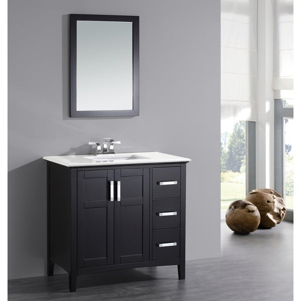black bathroom vanity with white marble top job will
