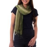 Handmade Silk 'Olive Sage Transition' Pin Tuck Scarf (Thailand)