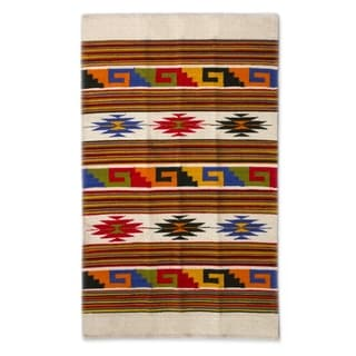 Handcrafted Wool 'Stars Dance' Rug (3.5x5) (Mexico)