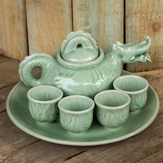 Set for 4 Celadon Ceramic 'Green Dragon' Tea Set (Thailand)