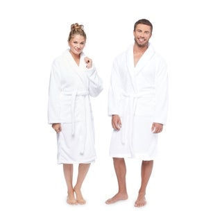 Authentic Hotel and Spa Unisex Microfiber White Bath Robe