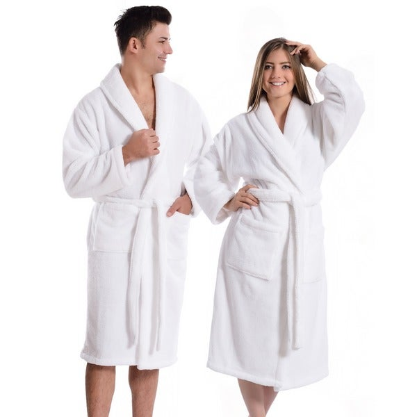 Authentic Hotel And Spa Unisex Microfiber White Bath Robe