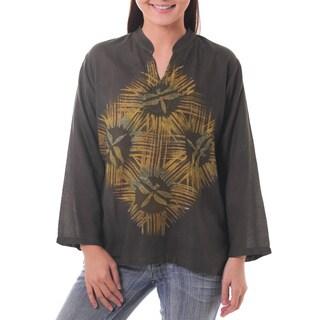 Handmade Cotton 'Thai Forest Wind' Batik Tunic (Thailand)