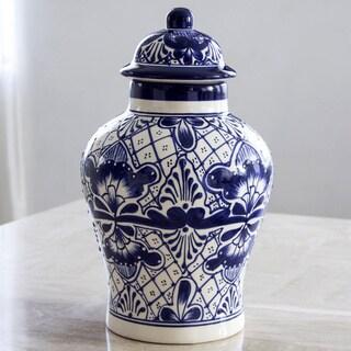 Handcrafted Talavera Ceramic 'Cobalt Legacy' Jar (Mexico)
