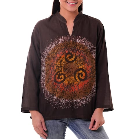 Handmade Cotton 'Thai Magic in Brown' Batik Tunic (Thailand)