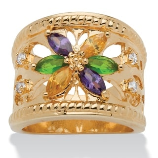 Marquise-Cut Multicolor Crystal 14k Yellow Gold-Plated Openwork Ring Color Fun