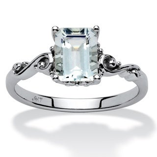 PalmBeach 1.40 TCW Emerald-Cut Aquamarine Ring in 10k White Gold