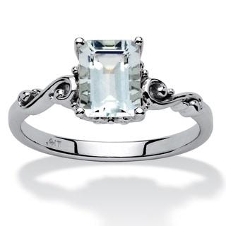 1 40 TCW Emerald Cut Aquamarine Ring In 10k White Gold