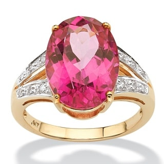 PalmBeach 8.83 TCW Oval Cut Sunset-Rose Genuine Topaz Diamond Accent 10k Yellow Gold Ring