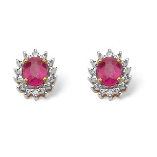 PalmBeach .70 TCW Oval-Cut Genuine Ruby with Diamond Accents 10k Yellow Gold Stud Earrings