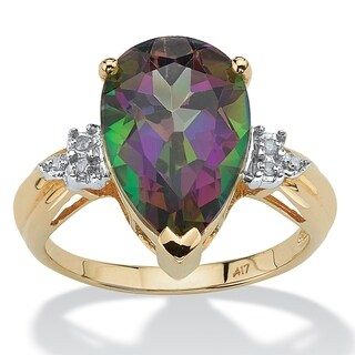 8.50 TCW Genuine Pear-Cut Fire Topaz and Diamond Accent Ring in 10k Gold