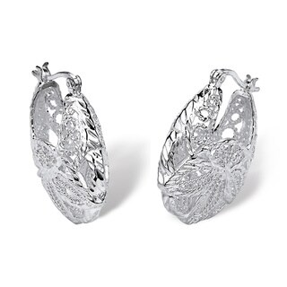 .925 Sterling Silver Filigree Leaf Hoop Earrings Tailored