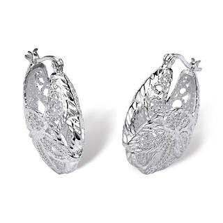 .925 Sterling Silver Filigree Leaf Hoop Earrings Tailored