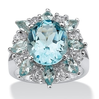 PalmBeach 8.60 TCW Oval-Cut Genuine Blue and White Topaz Ring in .925 Sterling Silver