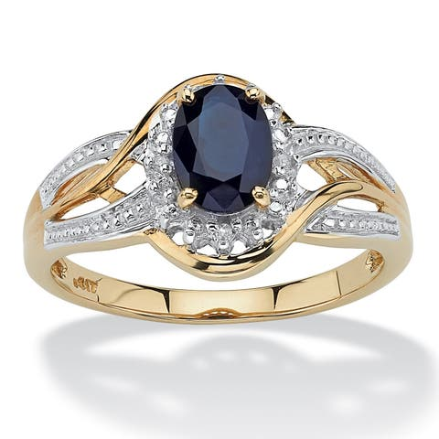 10K Yellow Gold Sapphire and Diamond Accent Crossover Ring