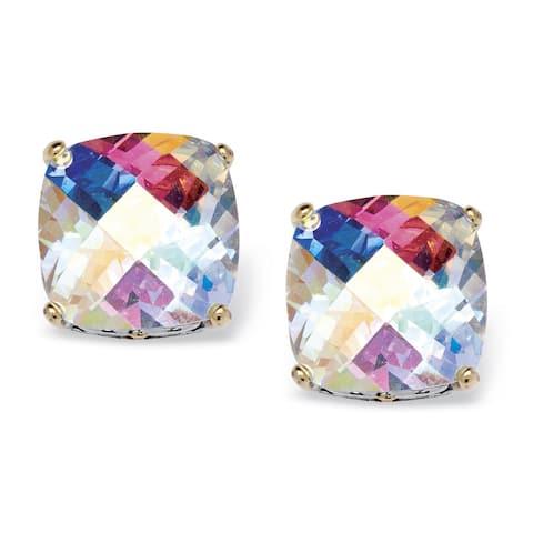 Silver Tone Button Earrings (11x11mm) Cushion Cut Mystic Fire Cubic Zirconia (7 5/8 cttw TDW)