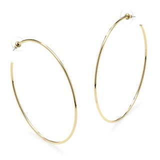 PalmBeach Hoop Earrings in 18k Gold-Plated With Surgical Steel Posts Bold Fashion