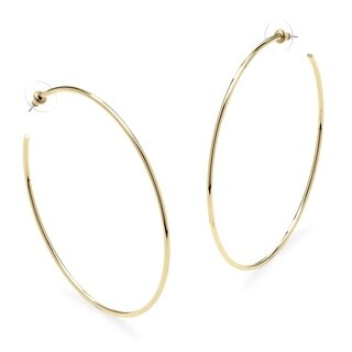 Hoop Earrings In Gold-Plated With Surgical Steel Posts Bold Fashion