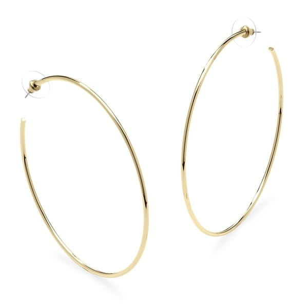 Yellow Gold-Plated Hoop Earrings (80mm). Opens flyout.