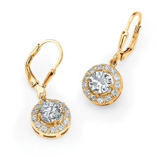 PalmBeach 2.34 TCW Round Cubic Zirconia Halo Drop Earrings in 18k Gold over Sterling Silver Classic CZ