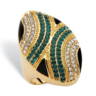 Oval Mod Geometric Cocktail Ring in 14k Gold-Plated Bold Fashion