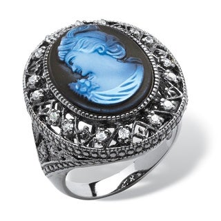 PalmBeach Iridescent Blue Cameo and Cubic Zirconia Cocktail Ring in Black Rhodium-Plated Bold Fashion
