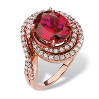 4.46 TCW Oval-Cut Ruby and Cubic Zirconia Swirl Ring in Rose Gold over Sterling Silver Gla
