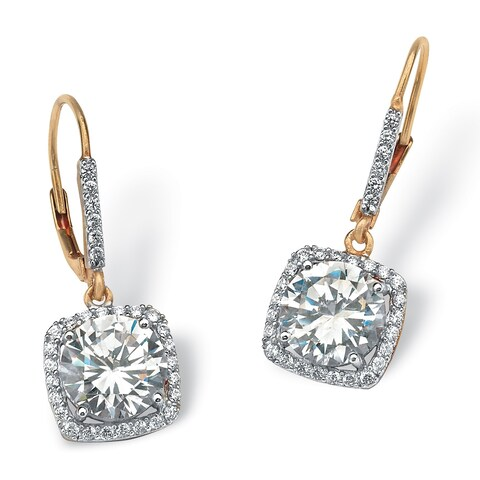 6.54 TCW Round Cubic Zirconia Halo Drop Earrings in 18k Gold over Sterling Silver Glam CZ