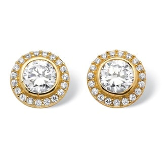 PalmBeach 2.14 Round Cubic Zirconia Halo Stud Earrings in 18k Gold over Sterling Silver Classic CZ