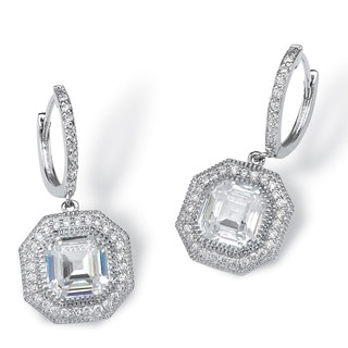 PalmBeach 5.10 TCW Ascher-Cut Cubic Zirconia Hexagon Halo Drop Earrings in Platinum over Sterling Silver Glam CZ