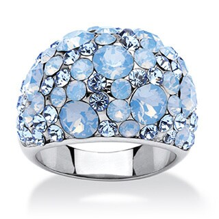 PalmBeach Blue and Aurora Borealis Crystal Dome Ring MADE WITH SWAROVSKI ELEMENTS in Stainless Steel Bold Fashion