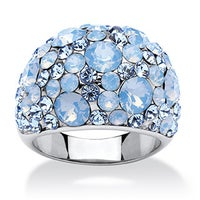 4413e1010 Blue and Aurora Borealis Crystal Dome Ring MADE WITH SWAROVSKI ELEMENTS in  Stainless Steel