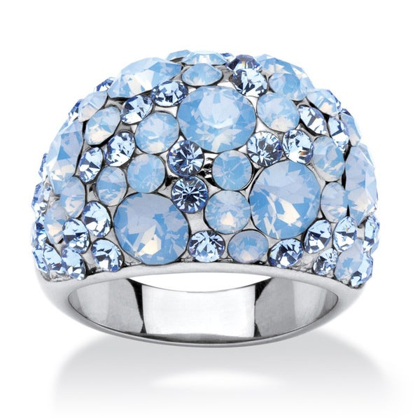Blue and Aurora Borealis Crystal Dome Ring MADE WITH SWAROVSKI ELEMENTS in Stainless Steel