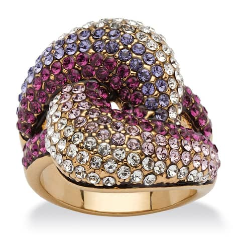 Shades of Purple Crystal Knot Cocktail Ring MADE WITH SWAROVSKI ELEMENTS in Gold Ion-Plate