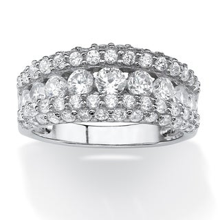 PalmBeach 1.26 TCW Round Cubic Zirconia Row Ring in Platinum over Sterling Silver Glam CZ