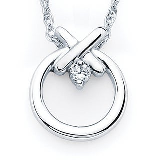 Boston Bay Diamonds Sterling Silver Diamond Accent Hugs and Kisses Pendant Necklace