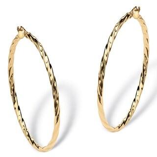 PalmBeach Twisted Hoop Earrings in 10k Gold Tailored