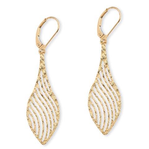 Laser-Cut Leaf Earrings in 10k Gold Tailored