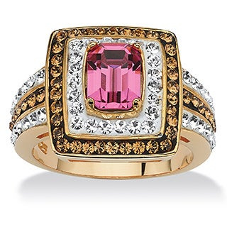 Emerald-Cut Fuchsia Crystal Cocktail Ring MADE WITH SWAROVSKI ELEMENTS 18k Gold over Sterl