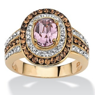 Oval-Cut Violet Crystal Cocktail Ring MADE WITH SWAROVSKI ELEMENTS 18k Gold over Sterling