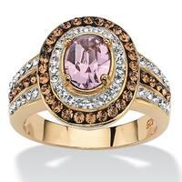 Oval-Cut Violet Crystal Cocktail Ring MADE WITH SWAROVSKI ELEMENTS 18k Gold over Sterling