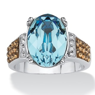 Oval-Cut Aqua Crystal Cocktail Ring MADE WITH SWAROVSKI ELEMENTS Platinum over Sterling Si