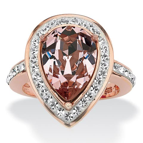 Pear-Cut Rose Crystal Cocktail Ring MADE WITH SWAROVSKI ELEMENTS Rose Gold over Sterling S
